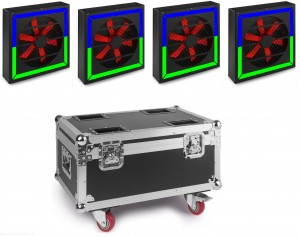 BeamZ 4 x LED TWISTER 400 FAN RGB DMX + CASE - zestaw